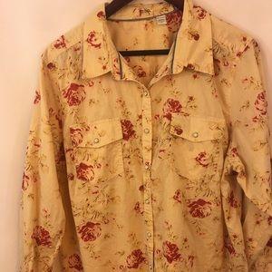 Izod Pearl Snap Shirt Plus Sz 1X Rose Tan Floral